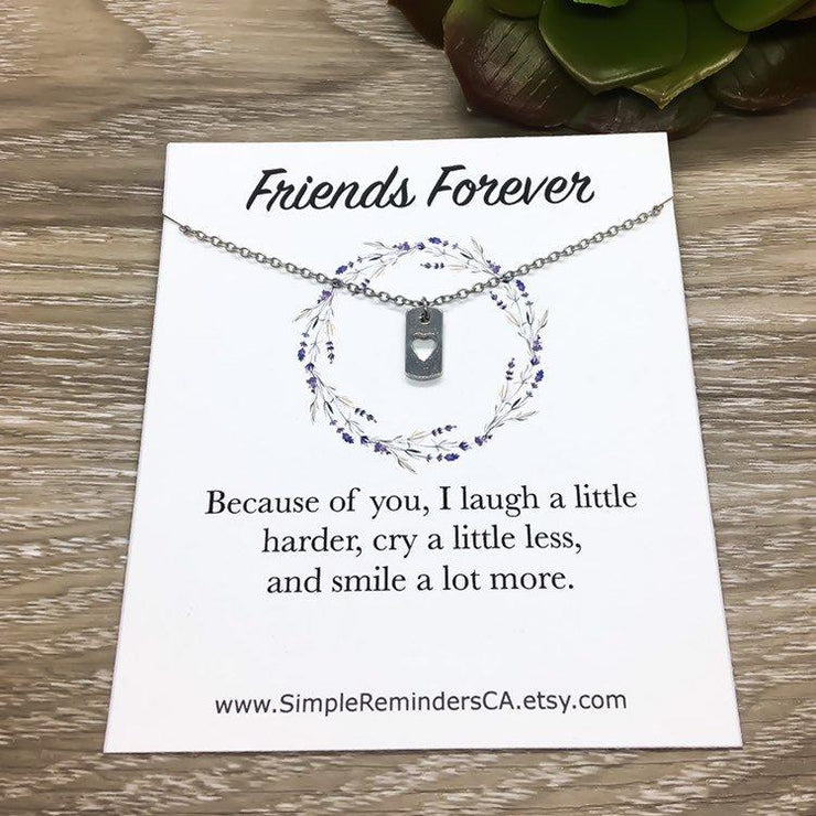 Tiny Heart Dog Tag Necklace, Friends Forever Necklace, Dainty Heart Jewelry, Friendship Necklace, Gift from Best Friend, Meaningful Gifts