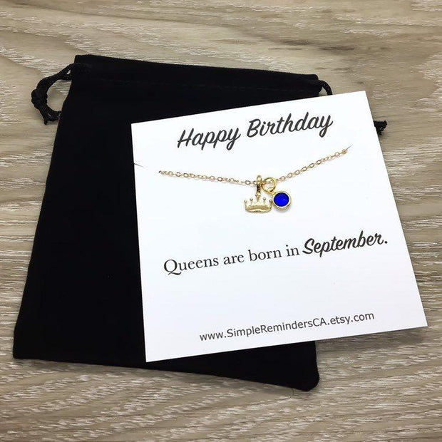 Birthday Queen Gift, Tiny Crown Necklace Card, Birthday Necklace, Gold Crown Necklace, Dainty Necklace, Princess Pendant, Queen Jewelry