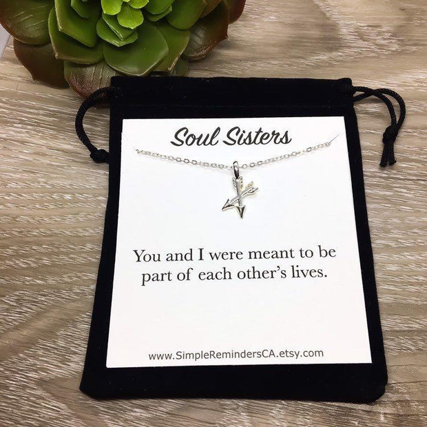 Soul Sisters Necklace, Friends Forever Gift, Crossing Arrows Pendant, Best Friend Gift, Arrow Jewelry, Sisters Arrow Necklace Gold, Birthday