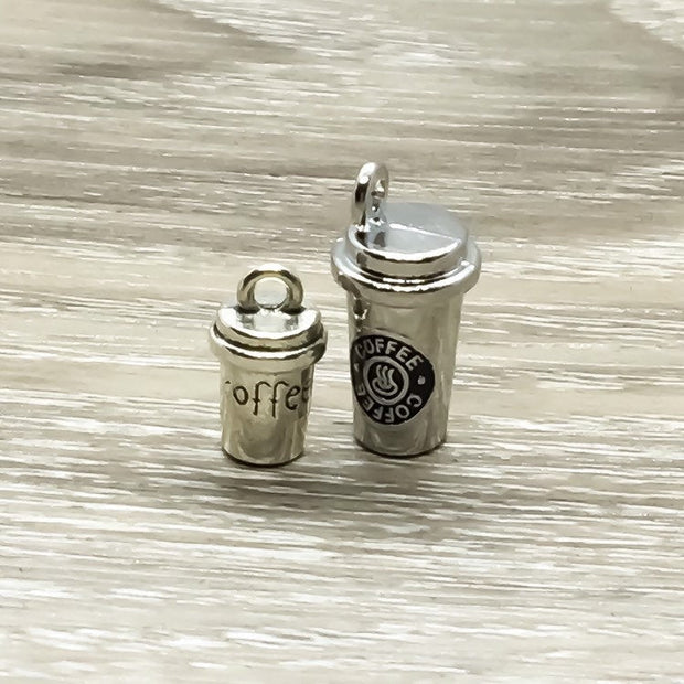 Coffee Charm, Miniature Coffee Cup, Coffee Addict Gift, Coffee Jewelry, Caffeine Gift, Antique Silver 3D Charm