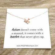 Special Education Teacher Gift, Autism Jigsaw Puzzle Necklace, Silver Puzzle Jewelry, Austistic Teaching Aid Necklace, Mother Thank You Gift