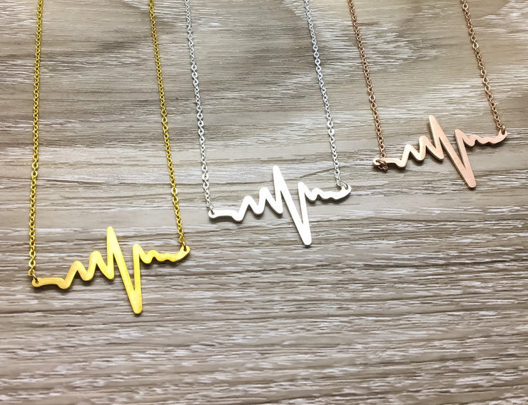 Heartbeat Necklace, Ups and Downs Were Worth It, Mom Necklace with Card, Gift for Infertility, Encouragement Gift, Simple Rose Gold Jewelry