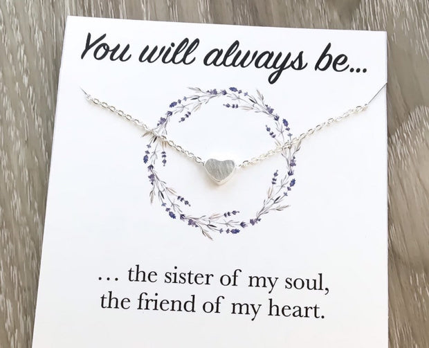 Heart Necklace with Quote Card, You Will Always Be, Friends Necklace, Unbiological Sister Gift, Sorority Girl