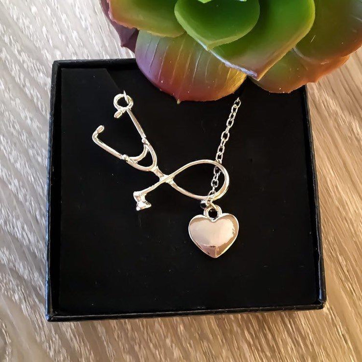 Silver Stethoscope Heart Necklace, Nurse Appreciation Gift Ideas, Nurse Necklace Card, Nursing is a Work of Heart, Nursing Student Gift