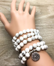 Howlite Mala Necklace, 108 Mala Bracelet, White Prayer Beads, Yoga Jewelry, Lotus Flower Charm, Mindfulness Gift for Women, Healing Jewelry