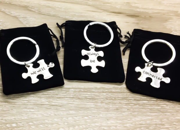 Puzzle Interlocking Keychain, We Will Always Be Connected, Best Friends Gifts, Friendship Keychain, BFF Keychain, Long Distance Friends Gift