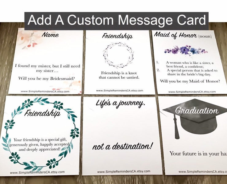 Add On Custom Message Card, Personalized Jewelry Gifts, Graduation, Bridesmaid Gifts, Custom Jewelry Cards, Dainty Necklace Cards, Birthday