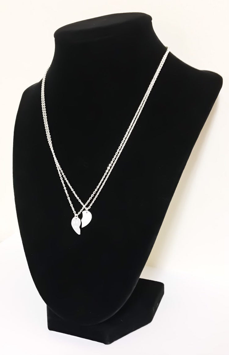 Split Hearts Necklace, Matching Friendship Necklace Set for 2, Half Heart Pendants, Best Friends Gift, Tweens BFF Gift