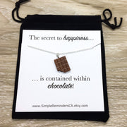 Chocolate Happiness Necklace, Foodie Jewelry, Friendship Gift for Her, Chocoholic Necklace, Cute Junk Food Gift, Birthday Gift