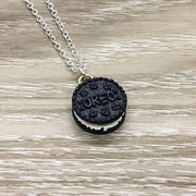 Tiny Oreo Cookie Gift, Kawaii Jewelry, Foodie Necklace, Friendship Gift for Her, Cute Food Necklace, Unique Junk Food Gift, Birthday Gift