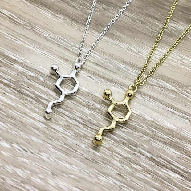 Dopamine Necklace, Love Jewelry, Passionate Gift, Gold Molecular Necklace, Science Gift, Anatomy Molecule Pendant Necklace, Biology Jewelry