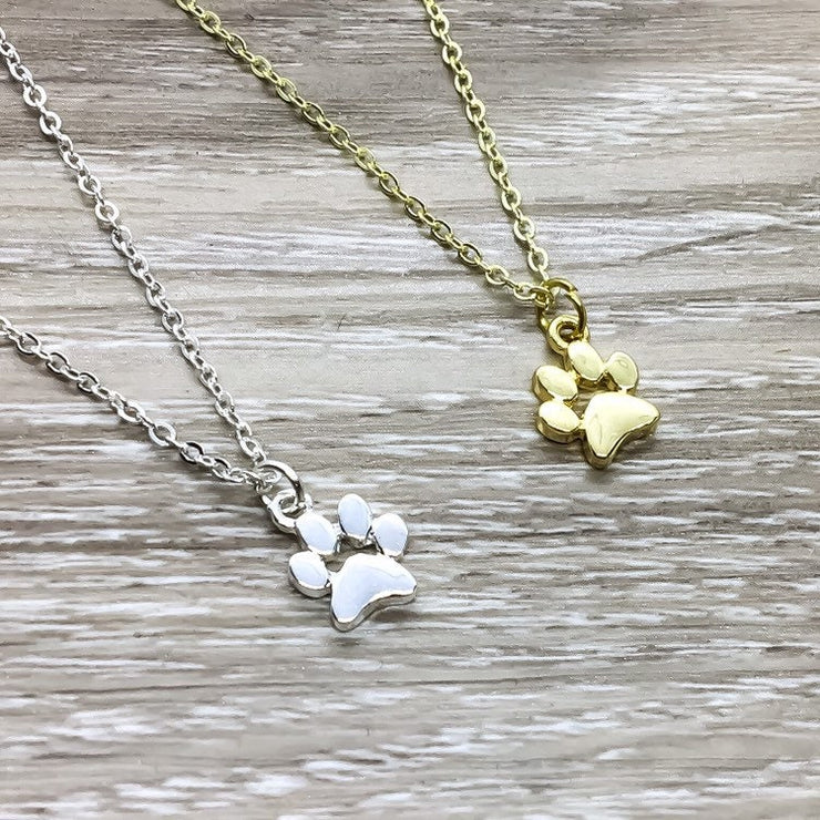 Paw Print Necklace, Dainty Silver Pawprint Jewelry, Gold Pet Jewelry, Cat Lover Gift, Dog Owner Gift, Pet Loss Remembrance Gift