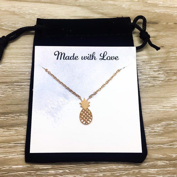 Tiny Pineapple Necklace, Dainty Rose Gold Jewelry, Pineapple Gifts, Tropical Gifts, Inspirational Necklace, Friendship Necklace