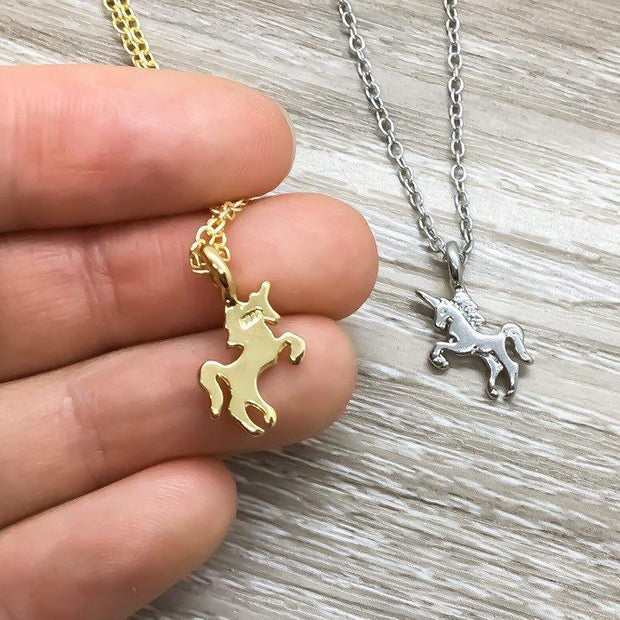 Tiny Unicorn Necklace, Magical  Unicorn Jewelry, Gifts for Her, Unicorn Lover Gift, Birthday Gift, Dainty Unicorn Sparkles Pendant
