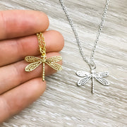 Dainty Dragonfly Necklace, Rose Gold Jewelry, Strength Gifts for Her, Meaningful Gift, Morivation Gift from Mom, Gift for Daughter, Survivor