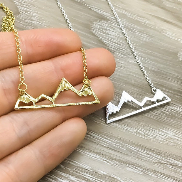 Snowy Mountain Necklace, Mountain Range Jewelry, Going Away College Gift, Travel Gift for Her, Inspirational Gift, Hiking Necklace, Explore