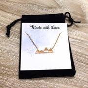 Snowy Mountain Necklace, Rose Gold Jewelry, Long Distance Friends Gift, Sparkling Winter Jewelry, Snow Pendant, Skiiing Gift
