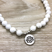 Howlite Mala Necklace, 108 Mala Bracelet, White Prayer Beads, Yoga Jewelry, Lotus Flower Charm