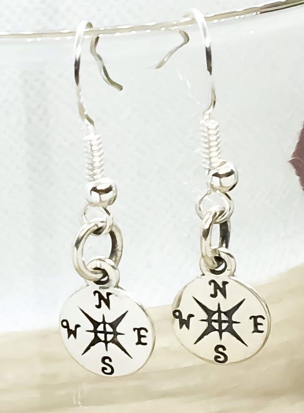 Compass Earrings, Tiny Compass Dangle Earrings, Travel Gifts, Sterling Silver Jewelry, New Journey Gift