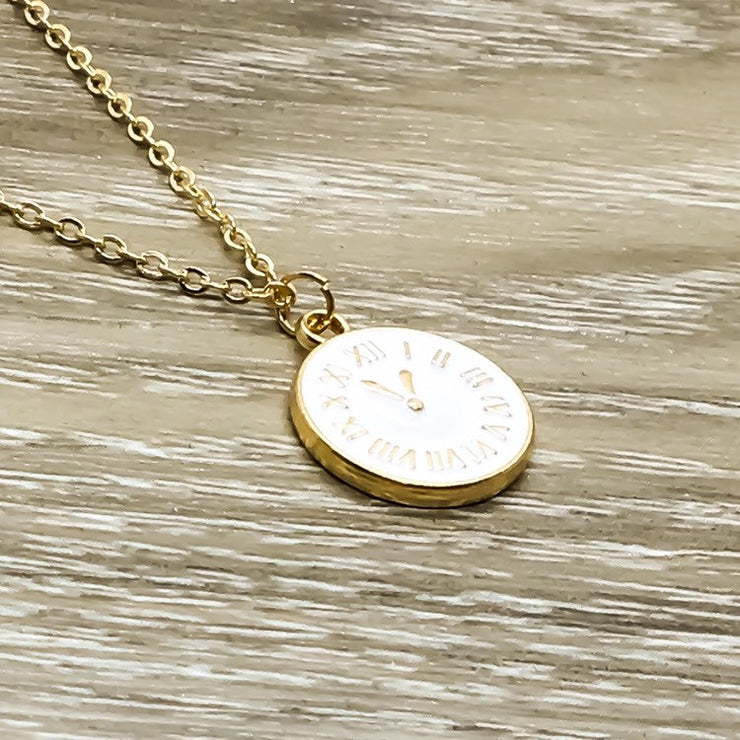 Tiny Clock Necklace, Gold Pocket Watch Pendant, Minimalist Geometric Jewelry, Dainty Necklace, Inspirational Gifts, Gift for Her, Birthday