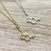 Silver Serotonin Necklace, Happiness Jewelry, Gold Molecular Necklace, Science Gift, Anatomy Molecule Pendant Necklace, Biology Jewelry