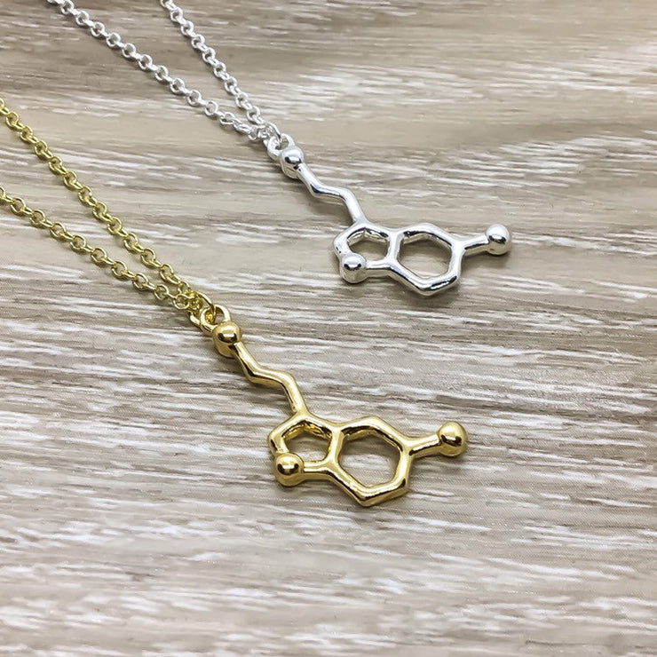 Molecular Jewelry, Serotonin Necklace, Dopamine Pendant, Acetylcholine Necklace, Anatomy Gift, Biology Medical Student Gift, Chemistry Charm