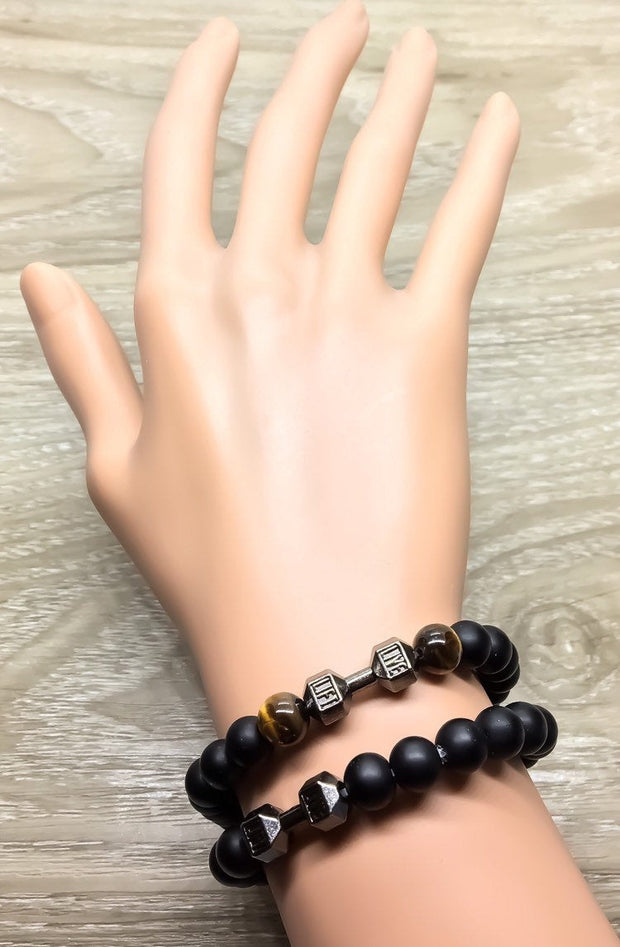 LIVE, LIFT Brown Black Fitness Beaded Bracelet, Weightlifting Jewelry, Gym Bracelet, Fitness Jewelry, Dumbbell Bead Bracelet, Coach Gift