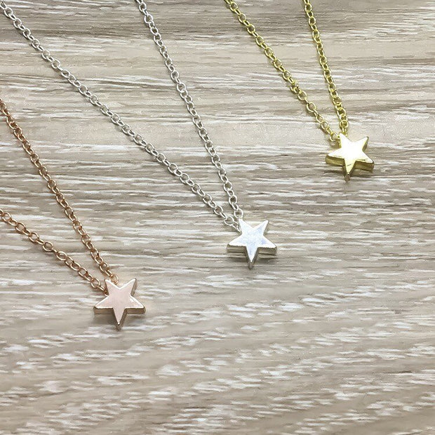 Rose Gold Star Necklace, Friendship Necklace, Dainty Celestial Jewelry, Gift for BFF, Gift from Best Friend