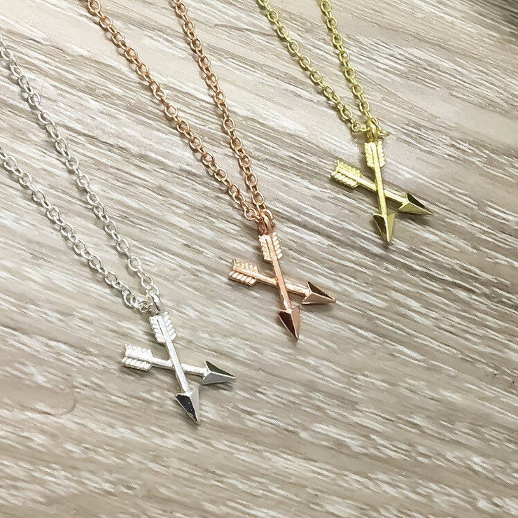 Tiny Crossing Arrows Necklace, Warrior Gift, Strength Necklace, Empowering Gift, Necklace for Women, Simple Reminder Gift, Friendship Gift