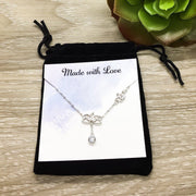Lotus Necklace with Quote Card, Sterling Silver Jewelry, Dainty Lotus Flower Pendant, Yoga Jewelry, Inspirational Gift, Minimalist Jewelry
