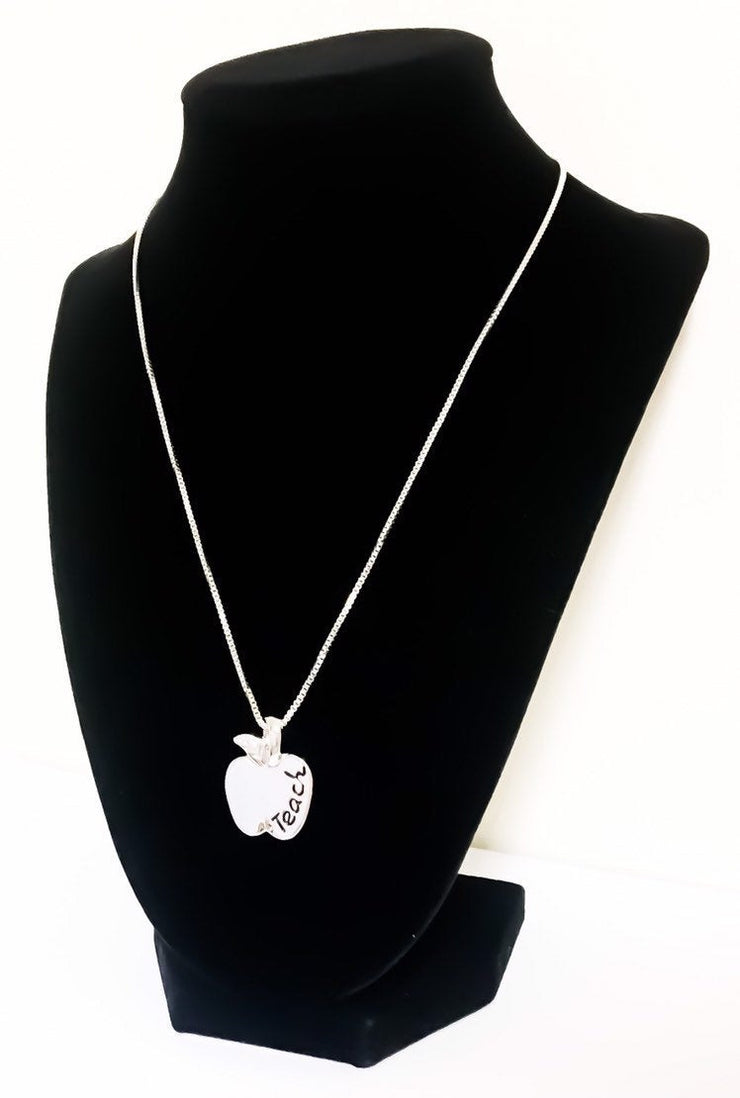 Apple Necklace, Teacher Appreciation Gift, To Teach is to Touch Lives Forever, Teach Double-Sided Necklace, Gift from Student, Teacher's Aid