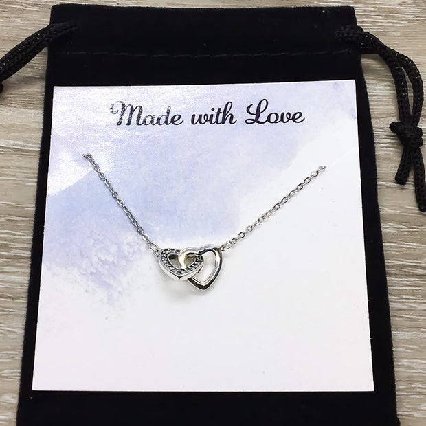 Two Hearts Necklace, Side by Side or Miles Apart Card, Double Heart Pendants, Gift from Sister, Sisterhood Jewelry, Sisters Gift, Sorority
