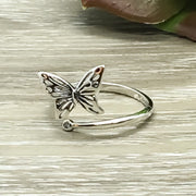 Dainty Butterfly Ring, Adjustable Statement Ring, Sterling Silver Ring, Promise Ring, Gift for Daughter, Friendship Gift, Little Girl Gift