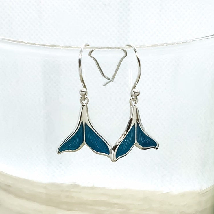 Blue Fish Tail Earrings, Mermaid Jewelry, Beach Earrings, Sterling Silver Jewelry, Mermaid Life Gift, Whimsical Jewelry, Fairy Tail Gift