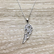 Single Wing Necklace, Sterling Silver Angel Pendant, Spiritual Jewelry, Grief Necklace, Remembrance Gift