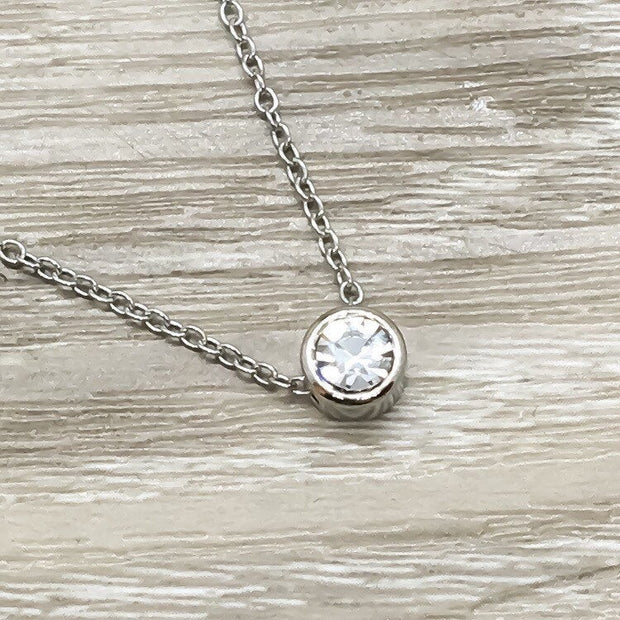 Tiny Round Crystal Necklace, Silver Diamond Necklace, Dainty Bridesmaid Necklace, Minimalist Jewelry, Gift for Mom, Girlfriend Gift