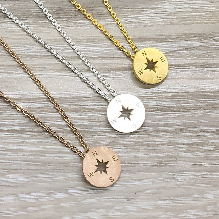 Compass Necklace, Long Distance Friends Gift, Stainless Steel Rose Gold Compass Pendant Necklace, Compass Jewelry