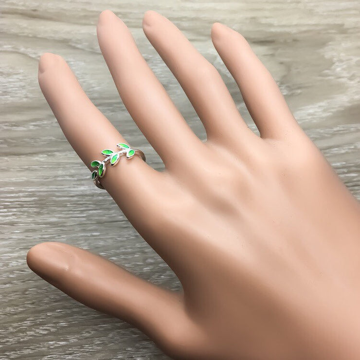 Green Olive Branch Ring, Sterling Silver Jewelry, Promise Ring, Statement Ring, Dainty Jewelry, Friendship Gift, Gift for Daughter, Birthday