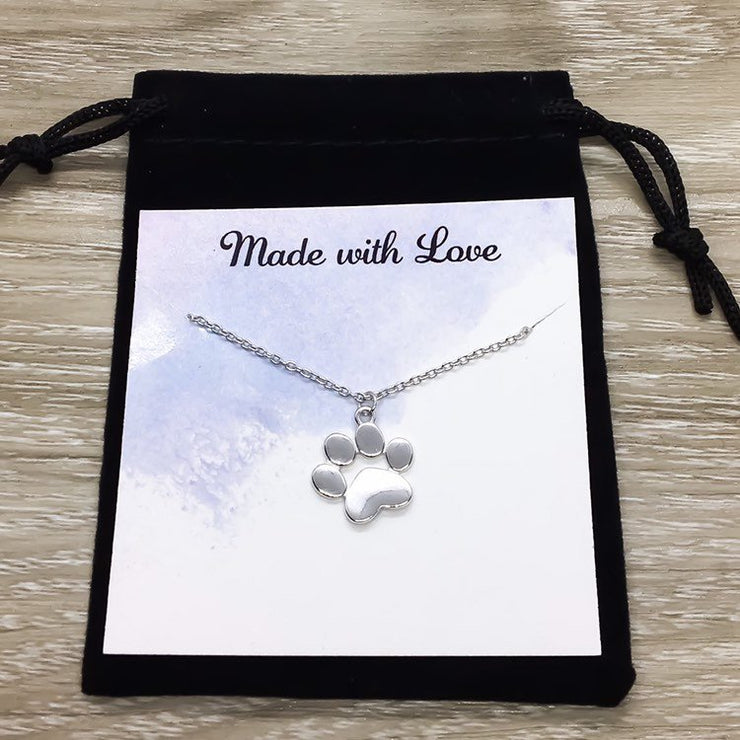 Paw Print Necklace, Sterling Silver Dog Jewelry, Cat Jewelry, Cat Lover Gift, Dog Owner Gift, Paw Prints on your Heart Gift, Pet Loss Gift