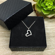 Dainty Heart Necklace, Side by Side or Miles Apart Card, Gift from Sister, Sisterhood Jewelry, Sisters Gift, Sorority Jewelry, Little Sister