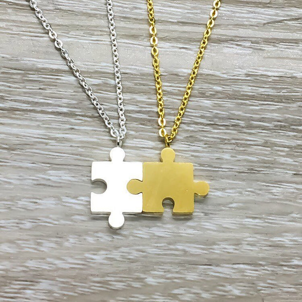 Interlocking Puzzle Necklace Set for 2, BFF Gift, Best Friends Gift, Gold Silver Jigsaw Puzzle Piece Necklaces, Stainless Steel Jewelry