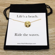 Gold Sand Dollar Necklace with Card, Beach Lover Necklace, Tropical Gift, Minimalist Necklace, Ocean Jewelry, Dainty Pendant, Summer Jewelry