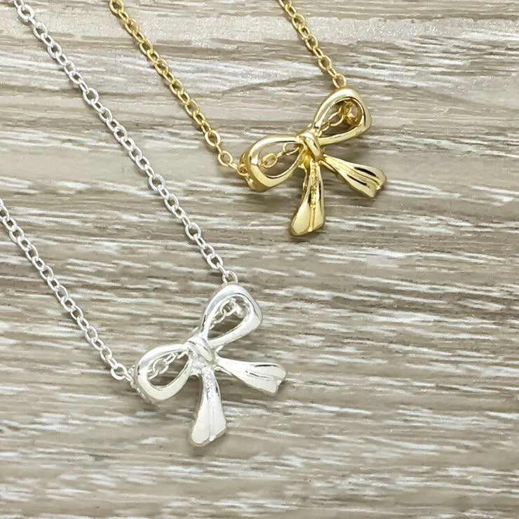Dainty Bow Necklace, Best Friend Gift, Friendship Knot Necklace, Classy Jewelry, Gift for Bestie, Feminine Necklace, Simple Necklace on Card