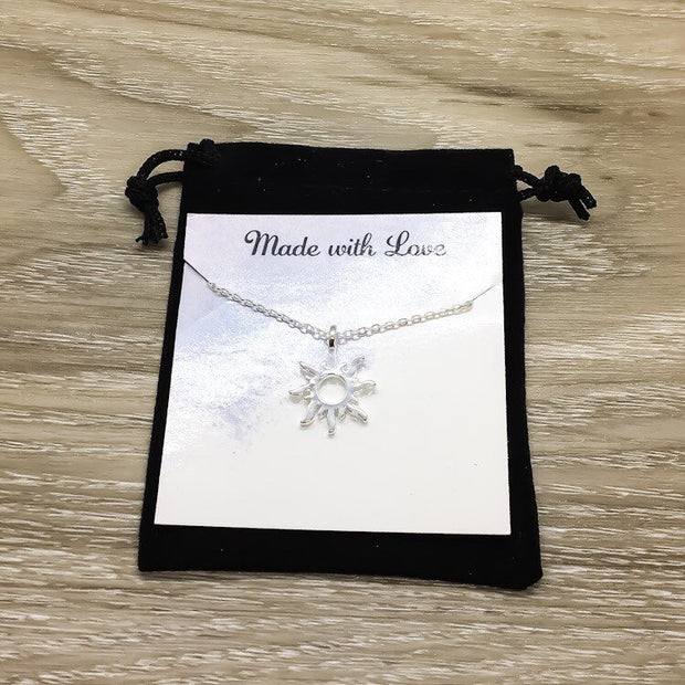 Sun Necklace, Silver Sunshine Pendant, Motivational Gifts, Simple Reminder Card, Gift for Daughter, Every Day Necklace, Summer Jewelry