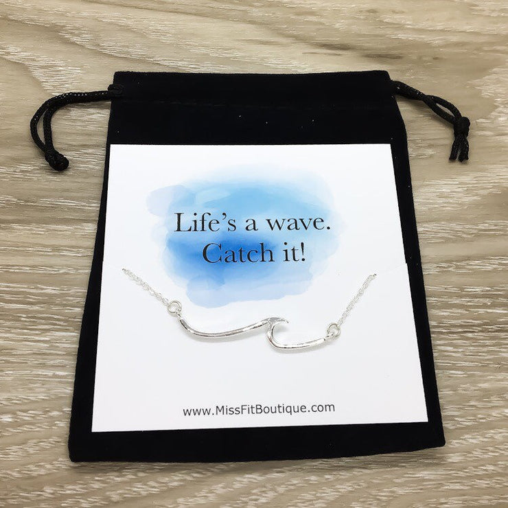 Life's a Wave Card, Wave Necklace, Beach Lover Necklace, Gift for Swimmers, Inspirational Ocean Wave Pendant, Summer Necklace