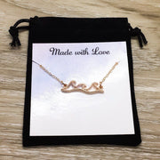 I Love You More than Card, Ocean Waves Necklace, Couple Anniversary Gift, Water Ripple Necklace, Summer Jewelry, Gift from Mom