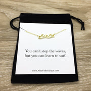 Ocean Wave Necklace with Card, Inspirational Beach Lover Gift, Gift for Surfer, Minimalist Sea Water Ripple Necklace, Summer Jewelry