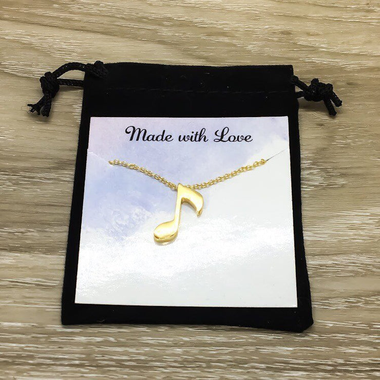 Dainty Music Note Necklace, Thank You Gift, Quote Card, Music Jewelry, Music Gift, Birthday Gifts, Gift from Student, Graduation