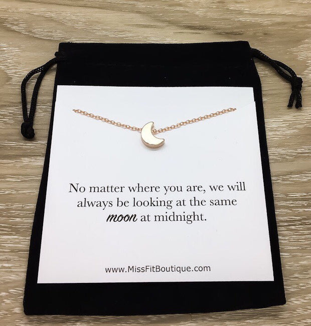 Moon Necklace, Long Distance Relationship Gift, Crescent Moon Jewelry, Celestial Necklace, Friendship Necklace, Graduation Gift for Her