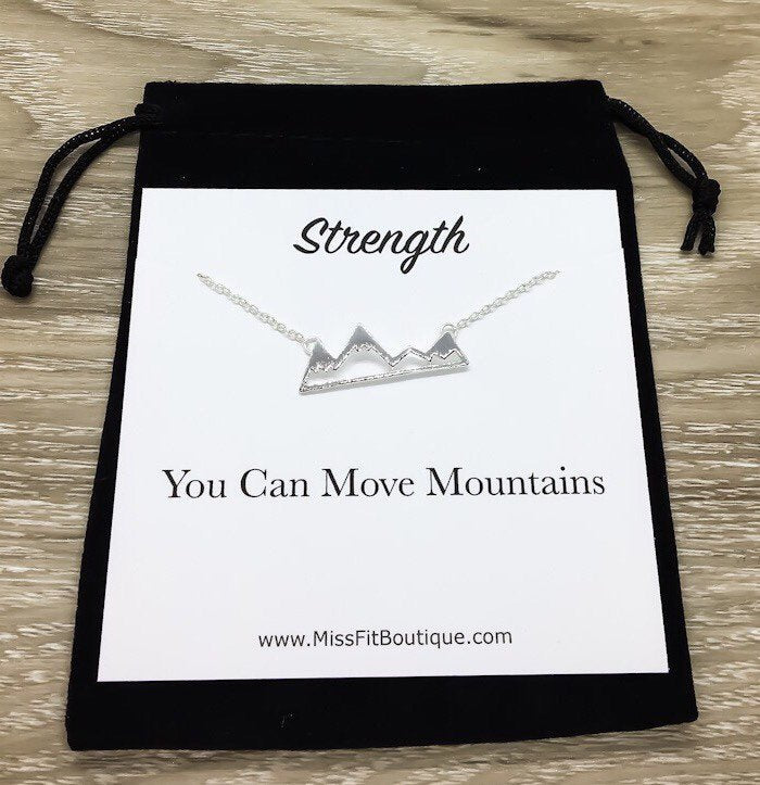Snowy Mountain Necklace, Strength Gift, Mountain Range Jewelry, Graduation Gift, Motivational Necklace with Card, Outdoor Lover Gift